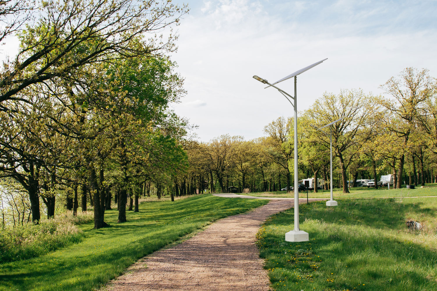 Solar street lights from GreenBright Design Build offer a stand-alone, off-grid system perfect for residential and commercial street lighting, rural areas, playgrounds, pathways, marinas, nature trails and more!